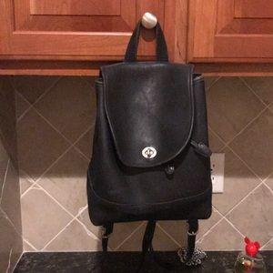 Coach vintage 9791 black leather backpack used